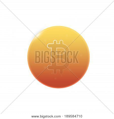 Bitcoin vector icon isolated on a white background. Simple symbol cryptocurrency.