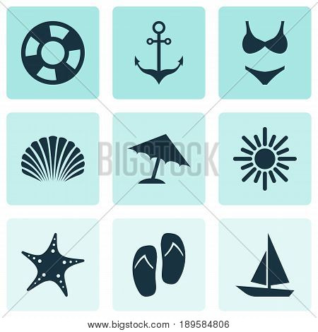 Icons Set. Collection Of Bikini, Sea Star, Sunny And Other Elements. Also Includes Symbols Such As Conch, Armature, Star.