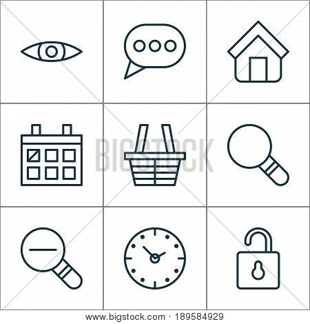 Web Icons Set. Collection Of Calendar, Shop, Estate And Other Elements. Also Includes Symbols Such As Clock, Message, Almanac.