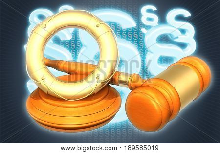 Life Preserver Law Concept 3D Illustration