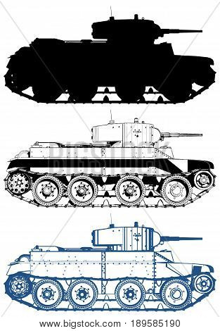 Military Tank Illustration Isolated On White Vector