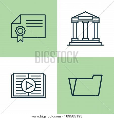 School Icons Set. Collection Of Document Case, College, Taped Book And Other Elements. Also Includes Symbols Such As Document, Diploma, Reader.