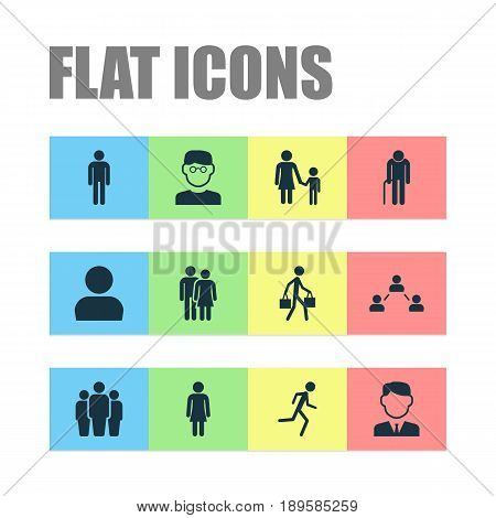Person Icons Set. Collection Of User, Scientist, Group And Other Elements. Also Includes Symbols Such As Mother, Relation, Gentlewoman.