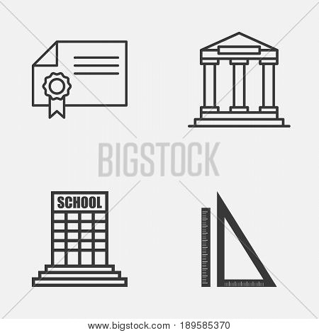 School Icons Set. Collection Of College, Measurement, Diploma And Other Elements. Also Includes Symbols Such As Success, Diploma, Ruler.