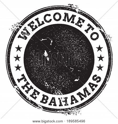 Vintage Passport Welcome Stamp With Bahamas Map. Grunge Rubber Stamp With Welcome To Bahamas Text, V