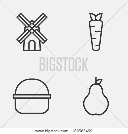 Gardening Icons Set. Collection Of Root, Package, Duchess And Other Elements. Also Includes Symbols Such As Mill, Farm, Package.
