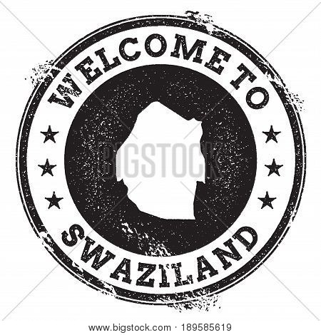 Vintage Passport Welcome Stamp With Swaziland Map. Grunge Rubber Stamp With Welcome To Swaziland Tex