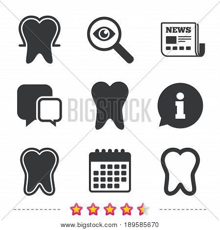 Tooth enamel protection icons. Dental toothpaste care signs. Healthy teeth sign. Newspaper, information and calendar icons. Investigate magnifier, chat symbol. Vector