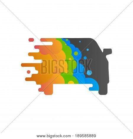 The silhouette of the car is painted in colorful paint vector illustration. Logo of workshop, which is painting cars
