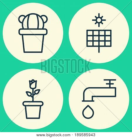 Garden Icons Set. Collection Of Sun Power, Spigot, Desert Plant And Other Elements. Also Includes Symbols Such As Power, Panel, Pot.