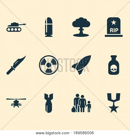 Warfare Icons Set. Collection Of Rocket, Dangerous, Fugitive And Other Elements. Also Includes Symbols Such As Mechanism, Nuclear, Medal.