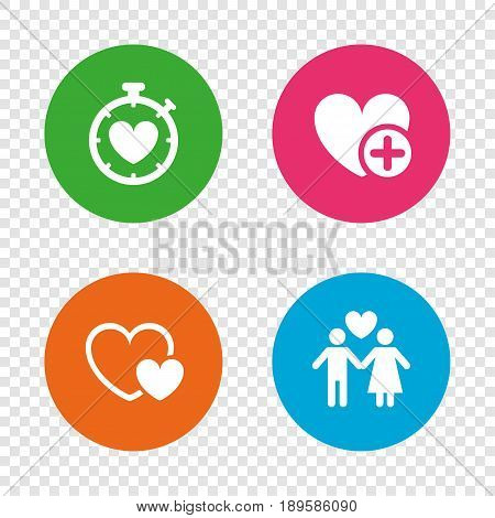 Valentine day love icons. Love heart timer symbol. Couple lovers sign. Add new love relationship. Round buttons on transparent background. Vector