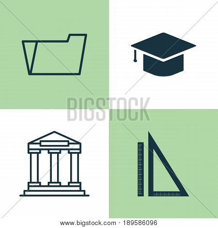 Education Icons Set. Collection Of Document Case, Measurement, College And Other Elements. Also Includes Symbols Such As Hat, Academy, Folder.
