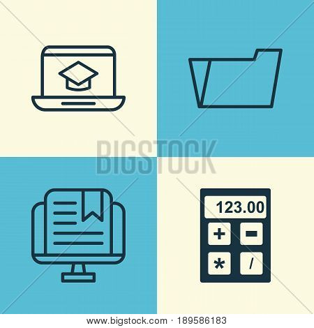 School Icons Set. Collection Of Electronic Tool, Distance Learning, E-Study And Other Elements. Also Includes Symbols Such As Electronic, Online, Tool.
