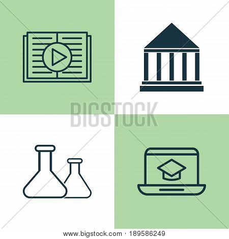 School Icons Set. Collection Of Chemical, Education Center, Taped Book And Other Elements. Also Includes Symbols Such As School, Reader, Distance.