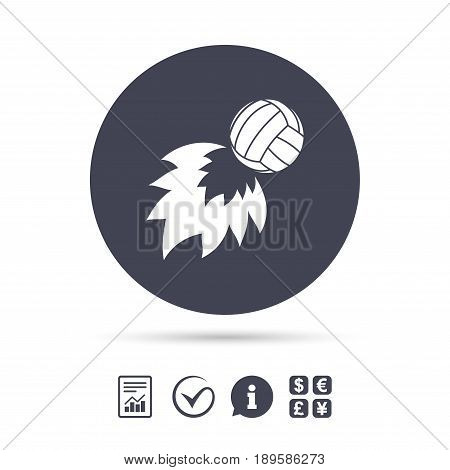 Volleyball fireball sign icon. Beach sport symbol. Report document, information and check tick icons. Currency exchange. Vector