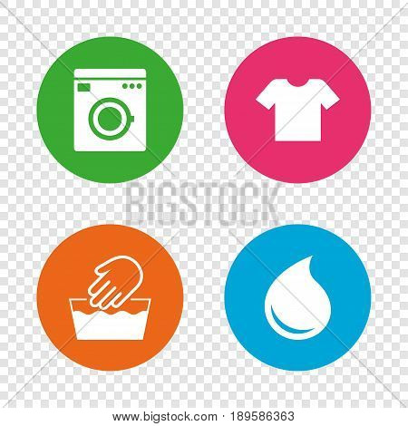 Wash machine icon. Hand wash. T-shirt clothes symbol. Laundry washhouse and water drop signs. Not machine washable. Round buttons on transparent background. Vector poster