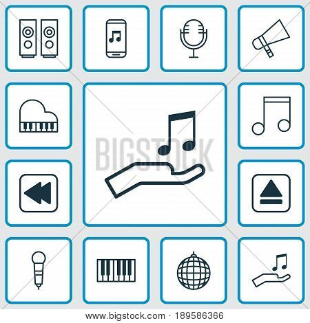 Multimedia Icons Set. Collection Of Sound Box, Mike, Note And Other Elements. Also Includes Symbols Such As Backward, Back, Mike.