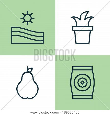 Garden Icons Set. Collection Of Fertilizer, Bush Pot, Meadow And Other Elements. Also Includes Symbols Such As Pot, Seed, Fertilizer.