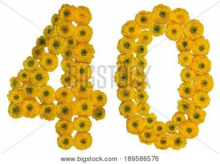 Arabic Numeral 40, Forty, From Yellow Flowers Of Buttercup, Isolated On White Background