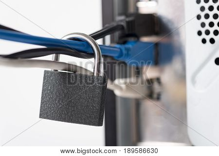 Admittance to system unit of computer is forbidden. Close up lock situating on long wires