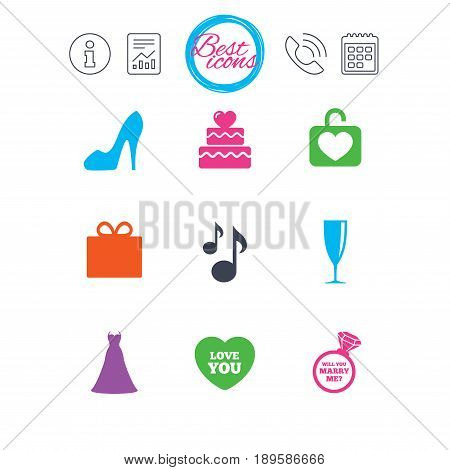 Information, report and calendar signs. Wedding, engagement icons. Cake with heart, gift box and brilliant signs. Dress, shoes and musical notes symbols. Classic simple flat web icons. Vector
