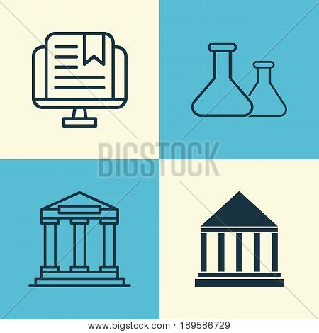 Education Icons Set. Collection Of E-Study, College, Chemical And Other Elements. Also Includes Symbols Such As Building, Study, Flask.