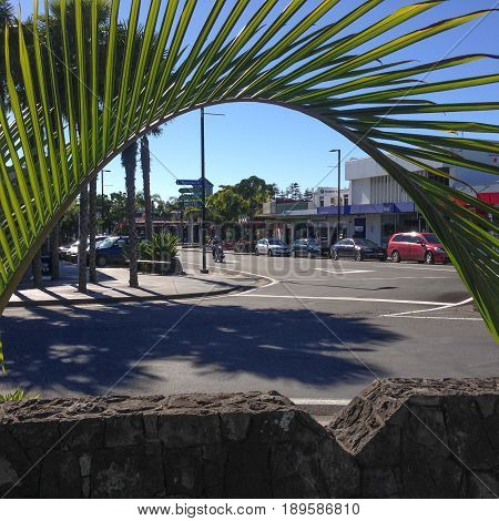 Kerikeri New Zealand (NZ) - May 2 2017: The one-way traffic system in Kerikeri town centre on a sunny day.