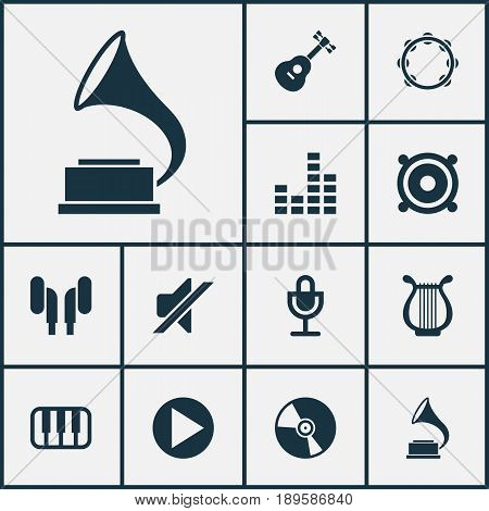 Audio Icons Set. Collection Of Silence, Cd, Equalizer And Other Elements. Also Includes Symbols Such As Percussion, Speaker, Instrument.