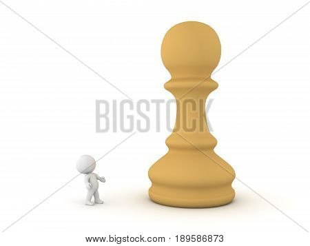 3D Character Looking Up At Giant Chess Pawn Piece
