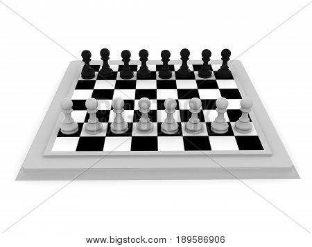 3D Illustration Of A Chess Board Seen From A Different Angle