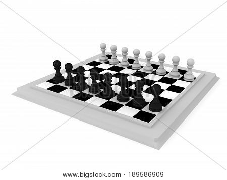 3D Illustration Of A Chess Board With Pawn Pieces
