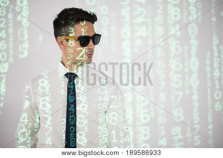 Portrait of serene male covering by matrix data. Digital device concept