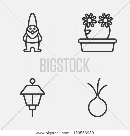 Farm Icons Set. Collection Of Floweret, Garlic, Lantern And Other Elements. Also Includes Symbols Such As Dwarf, Flower, Gnome.