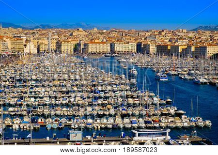 Aerial view of Marseille old port on the coast of the Mediterranean sea, France