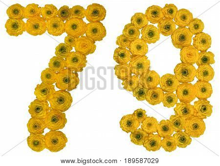 Arabic Numeral 79, Seventy Nine, From Yellow Flowers Of Buttercup, Isolated On White Background