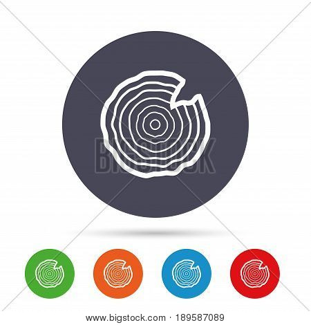 Wood sign icon. Tree growth rings. Tree trunk cross-section with nick. Round colourful buttons with flat icons. Vector