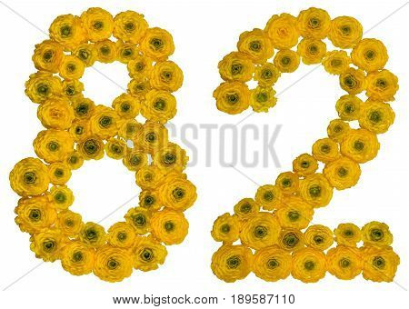 Arabic Numeral 82, Eighty Two, From Yellow Flowers Of Buttercup, Isolated On White Background