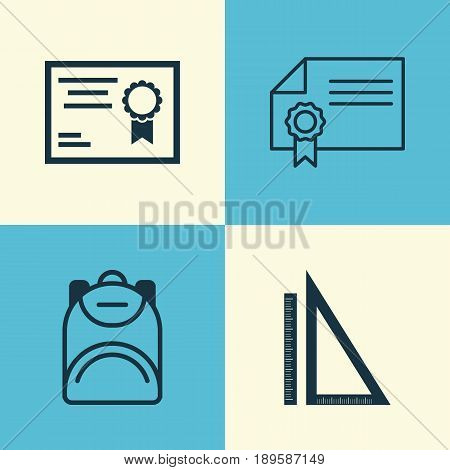School Icons Set. Collection Of Measurement, Diploma, Haversack And Other Elements. Also Includes Symbols Such As Backpack, Knapsack, Bag.