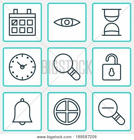 Web Icons Set. Collection Of Alert, Unlock, Glance And Other Elements. Also Includes Symbols Such As Hourglass, Padlock, Rustication.