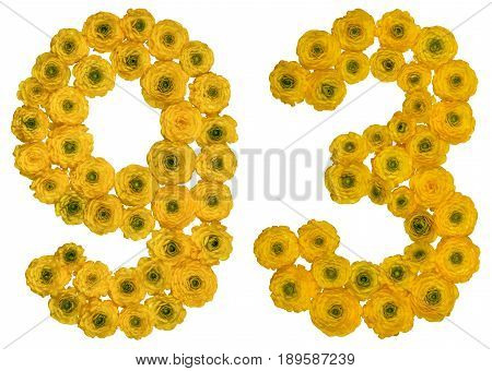 Arabic Numeral 93, Ninety Three, From Yellow Flowers Of Buttercup, Isolated On White Background