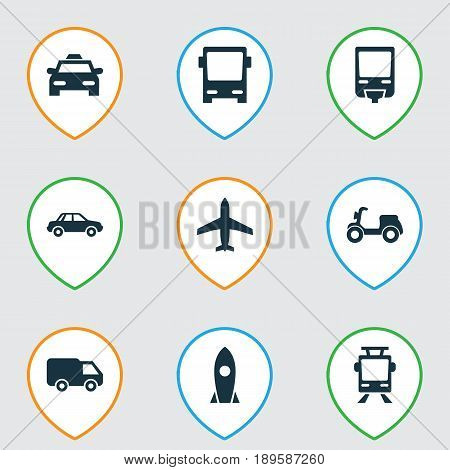 Transport Icons Set. Collection Of Aircraft, Omnibus, Streetcar And Other Elements. Also Includes Symbols Such As Autobus, Trolley, Truck.