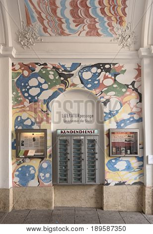 VIENNA, AUSTRIA-JUNE 01, 2017: Literature passage, Artistic themed passage in the Museums Quartier of Vienna