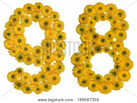 Arabic Numeral 98, Ninety Eight, From Yellow Flowers Of Buttercup, Isolated On White Background