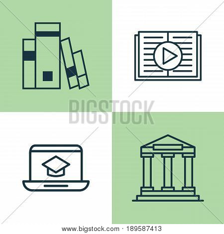 School Icons Set. Collection Of Taped Book, Distance Learning, College And Other Elements. Also Includes Symbols Such As Learning, Study, Book.