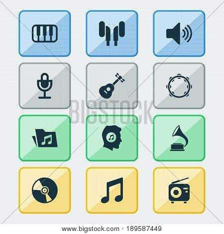 Audio Icons Set. Collection Of Tuner, Dossier, Instrument And Other Elements. Also Includes Symbols Such As Turntable, Note, Microphone.