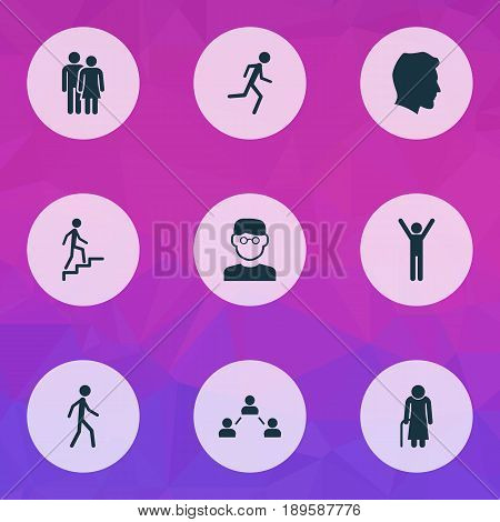 People Icons Set. Collection Of Beloveds, Old Woman, Jogging And Other Elements. Also Includes Symbols Such As Man, Happy, Network.