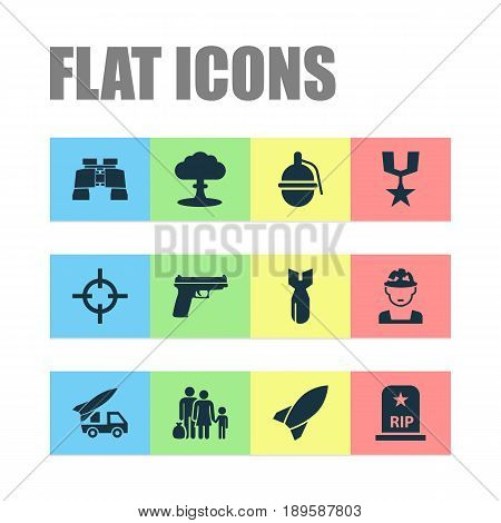 Army Icons Set. Collection Of Rocket, Military, Missile And Other Elements. Also Includes Symbols Such As Refugee, Military, Shot.