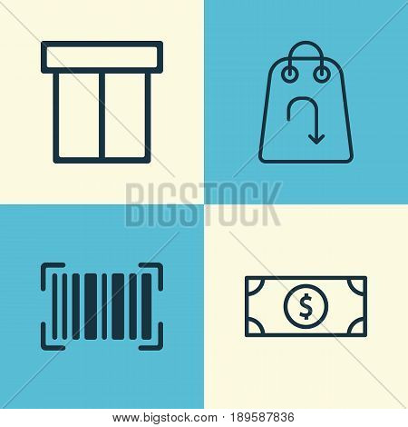 E-Commerce Icons Set. Collection Of Buck, Box, Refund And Other Elements. Also Includes Symbols Such As Refund, Packet, Dollar.