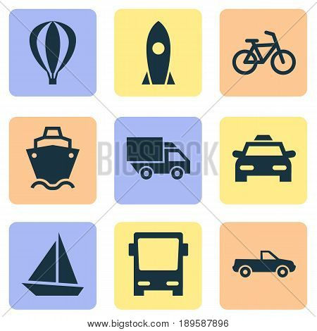 Transport Icons Set. Collection Of Airship, Bicycle, Omnibus And Other Elements. Also Includes Symbols Such As Airship, Camion, Omnibus.